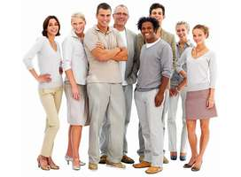 Group of relaxed standing business people