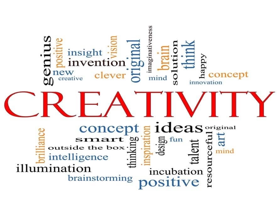 Creativity, concepts, ideas, inventions word cloud