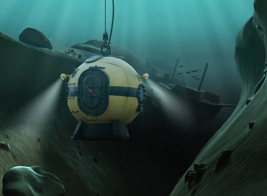 Suspended deep sea diving bell at ocean bottom