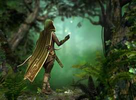Fantasy warrior walking through ancient forest