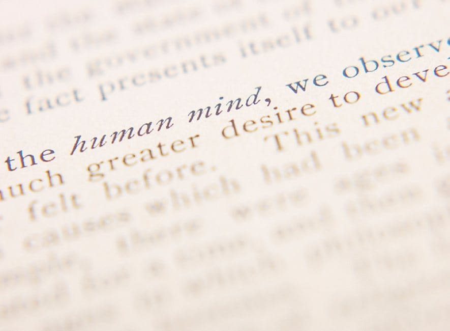 Close-up photo of book text