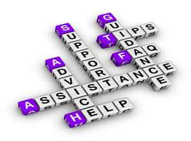 Word puzzle containing important help-related words