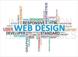 Web design words and themes word cloud