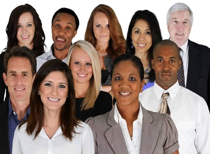 Group photo of ethnically mixed business people