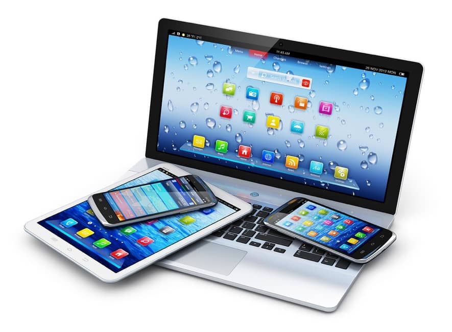 Computer, tablet device, and two smartphones