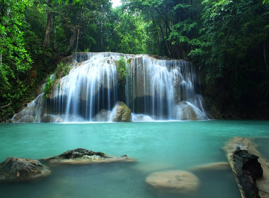 Beautiful waterfall photo in forest