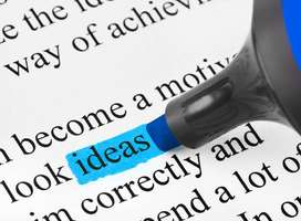 The word ideas highlighted by a blue marker pen