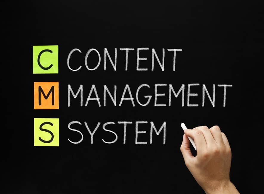 CMS and content management system writing on chalkboard