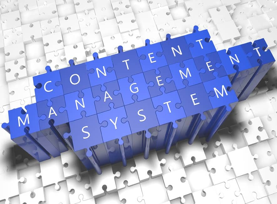 3D jigsaw illustration of content management system