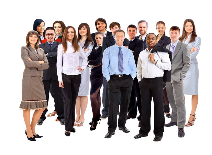 Groups of standing, relaxed, smiling business people