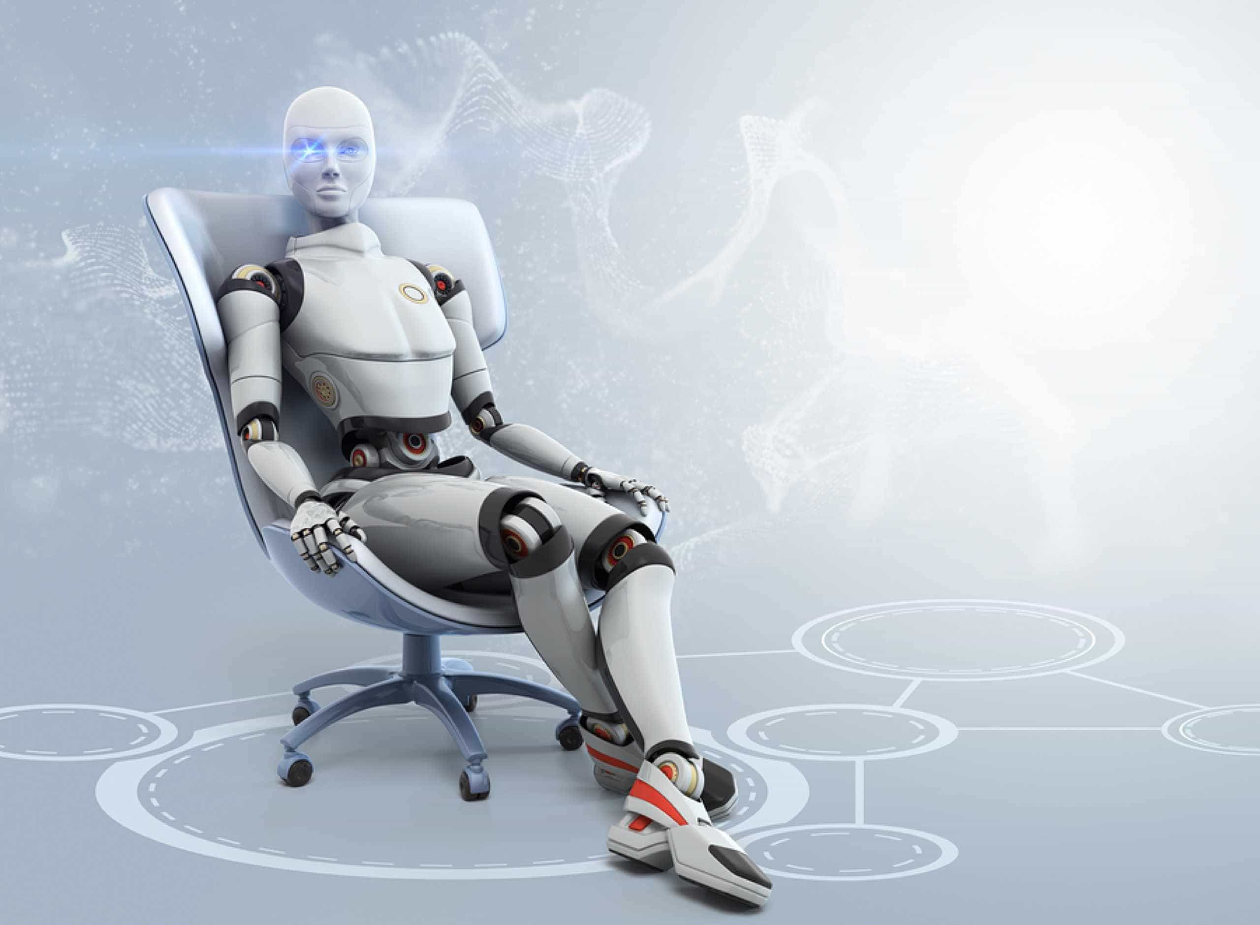 Robot person sitting in an office swivel chair
