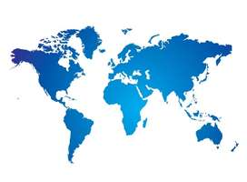 map of the world in coloured shades of blue