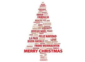 Christmas tree illustration of Merry Christmas in different languages