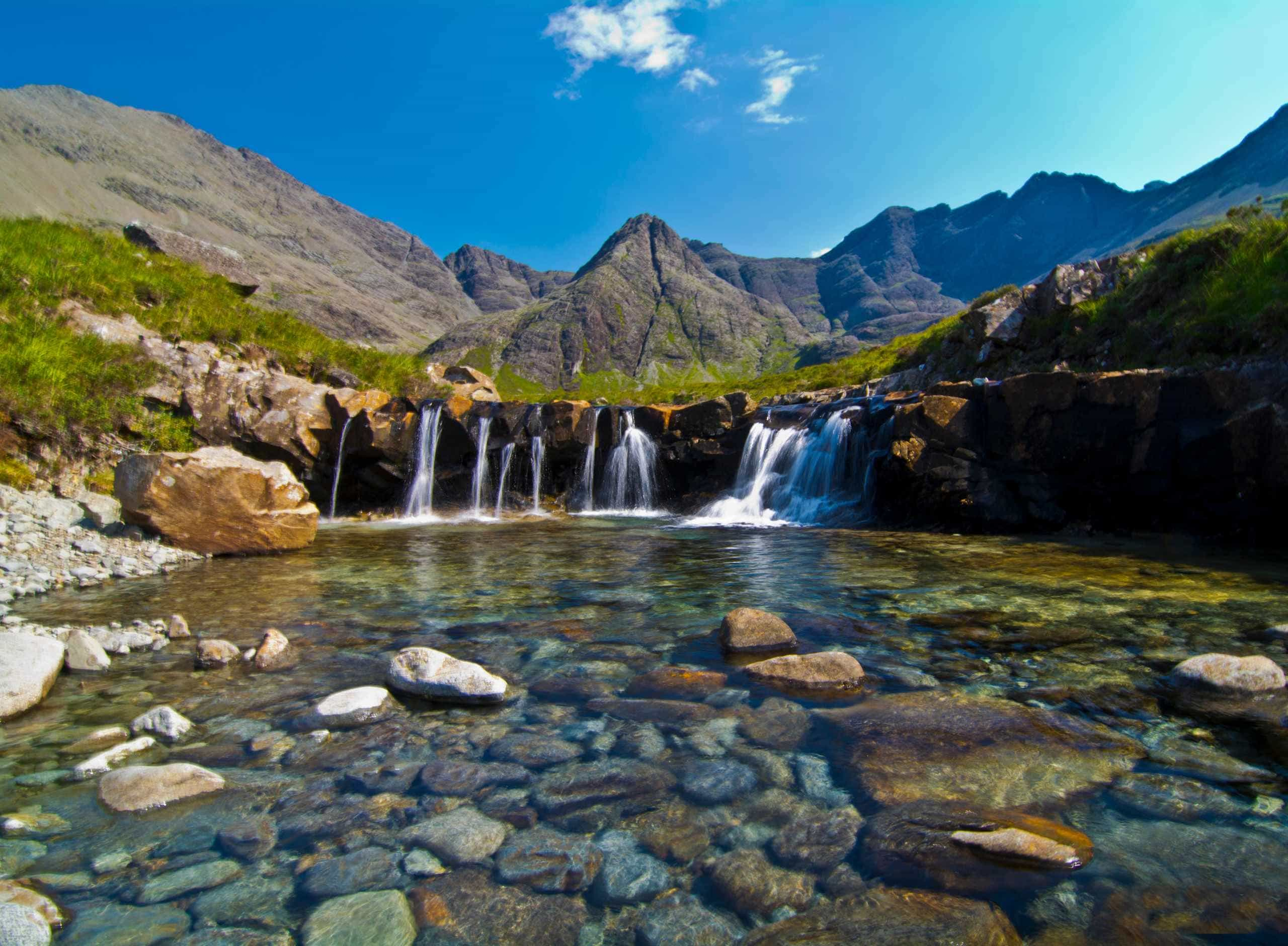 fairy-pools-waterfall-isle-of-skye-sunny-day