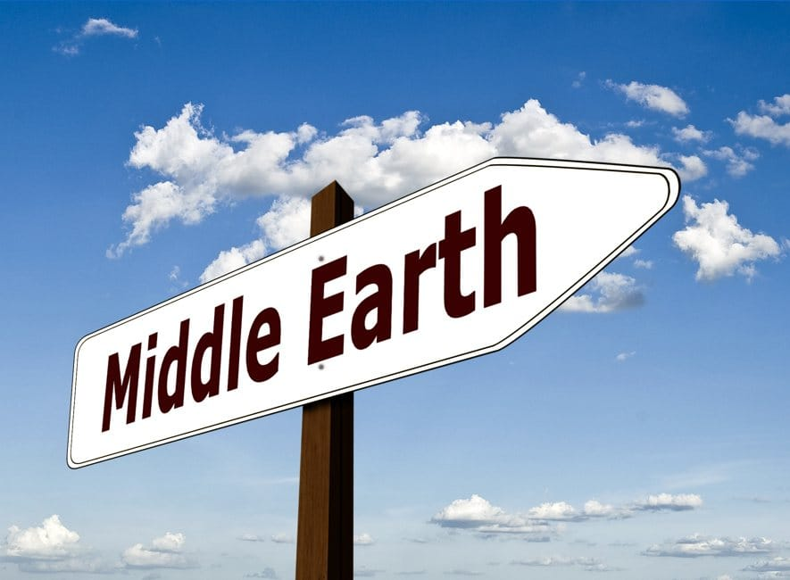 Directional road sign with the words Middle Earth