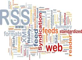 RSS, atom, XML, news, web site feeds word cloud