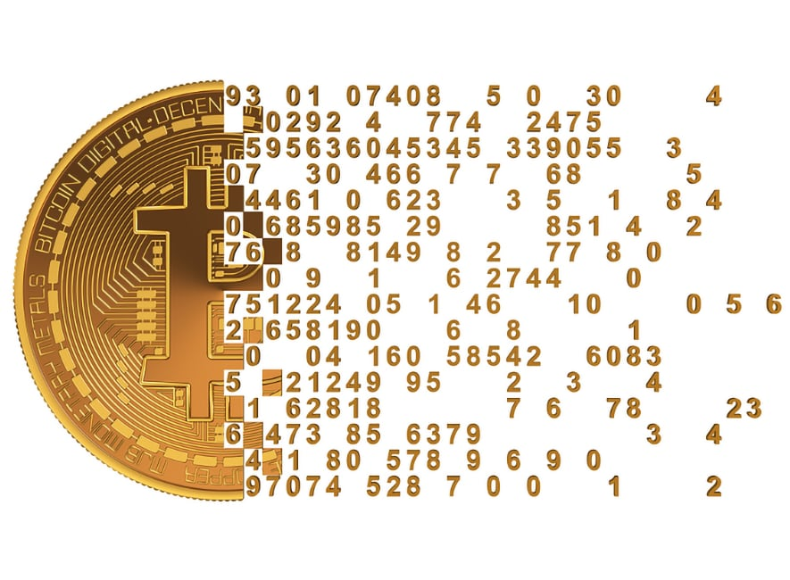 Concept image showing a physical bitcoin representation on left side breaking apart on right side to digital zeros and ones