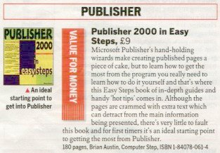 Photo of book review by Computer Active magazine of (Microsoft) Publisher 2000 in easy steps by Brian Austin