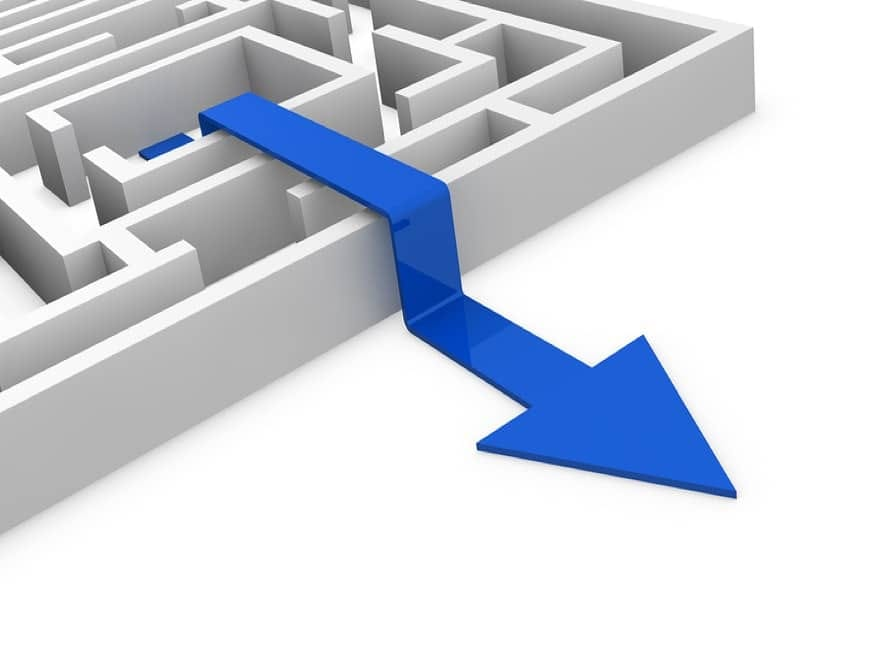 Illustration of maze showing a blue arrow shortcut out
