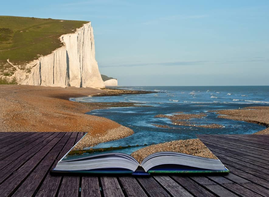 Abstract white cliffs of Dover, with open book