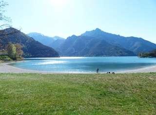 Beautiful lake and mountain blue sky vista photo