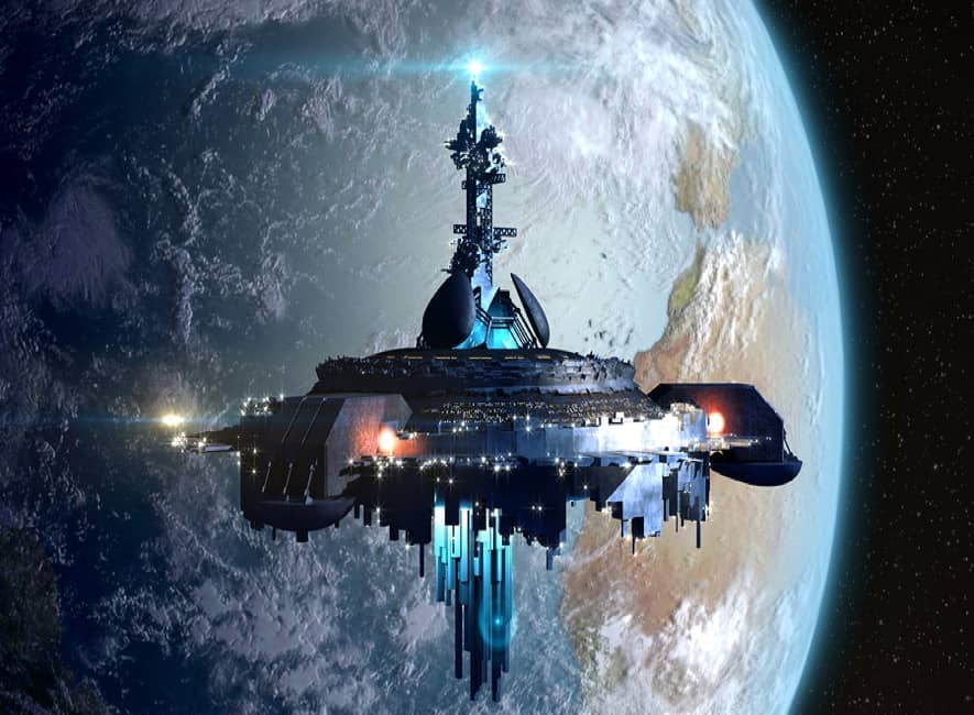 Impressive space ship mothership in Earth orbit