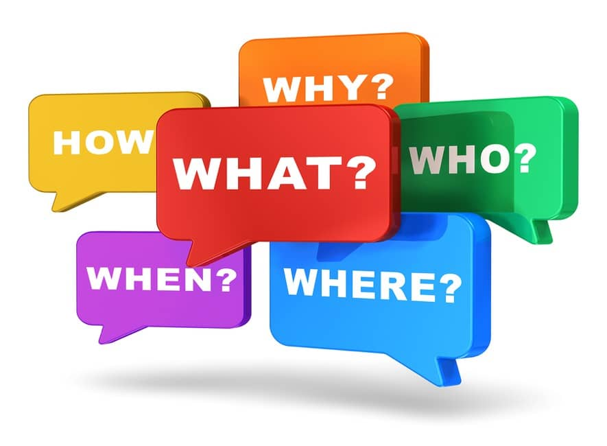 Who, what, when, where, how, and why words