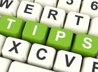 Abstract keyboard keys spell tips word